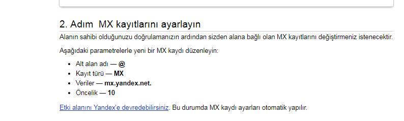 Yandex Kurumsal Mail Oluşturma - Bilgi Bankası - TTNETDC